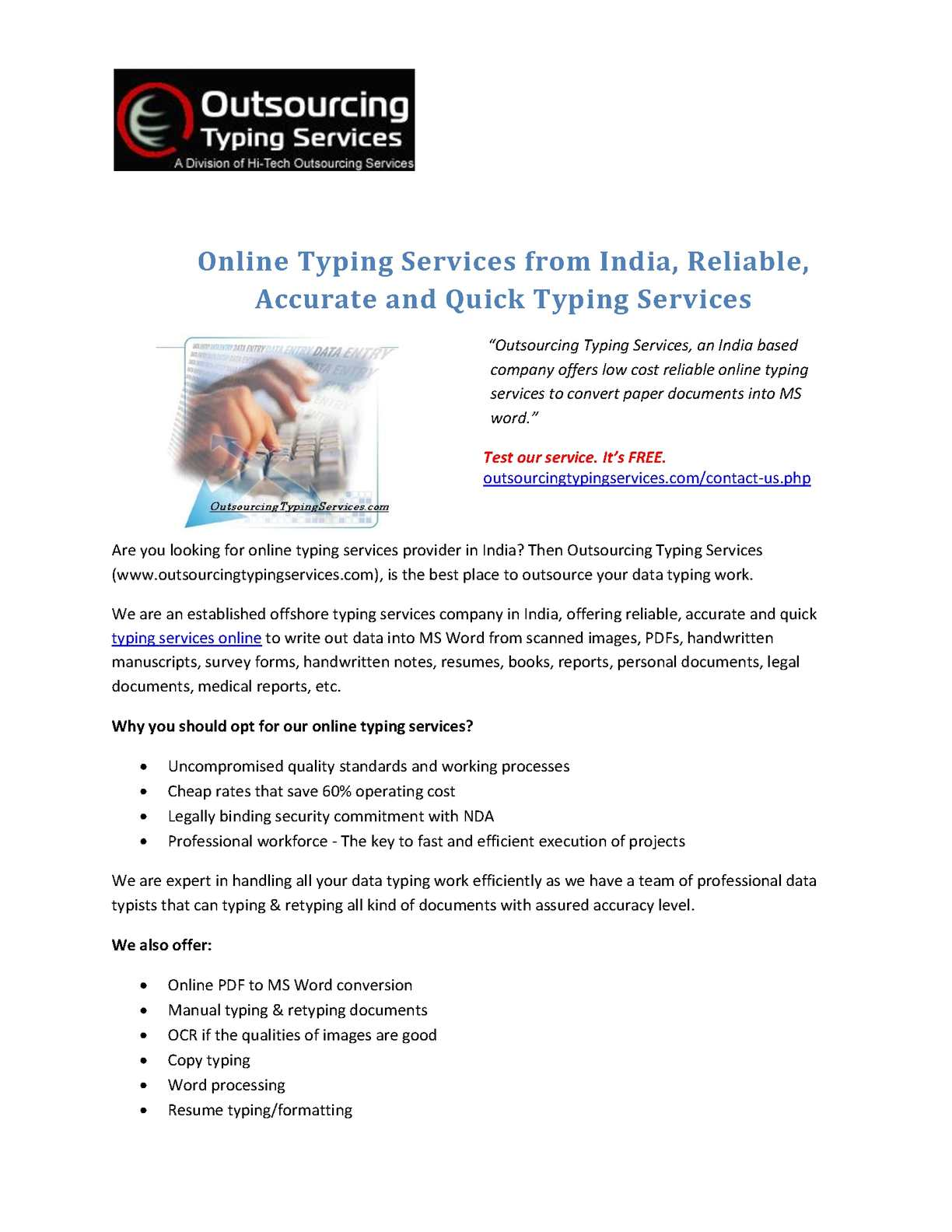 online typing services from india reliable accurate and quick typing services
