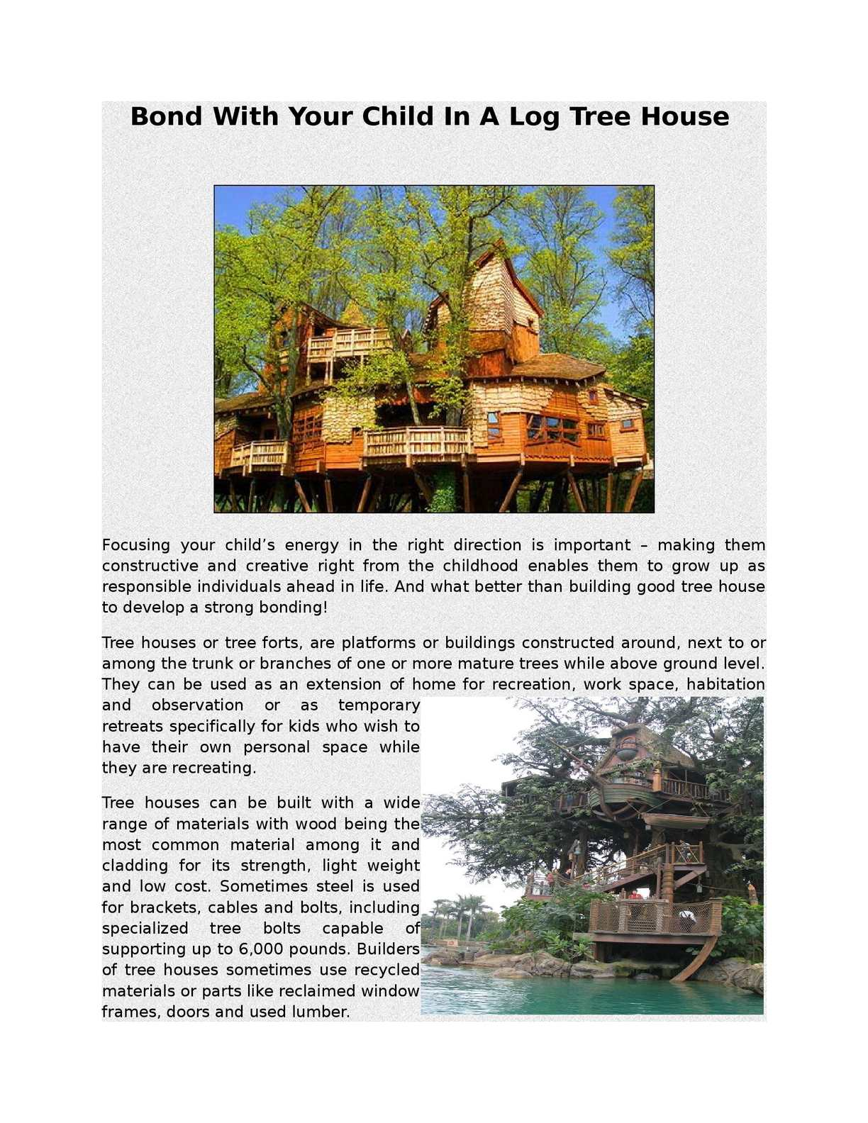 Calameo Bond With Your Child In A Log Tree House