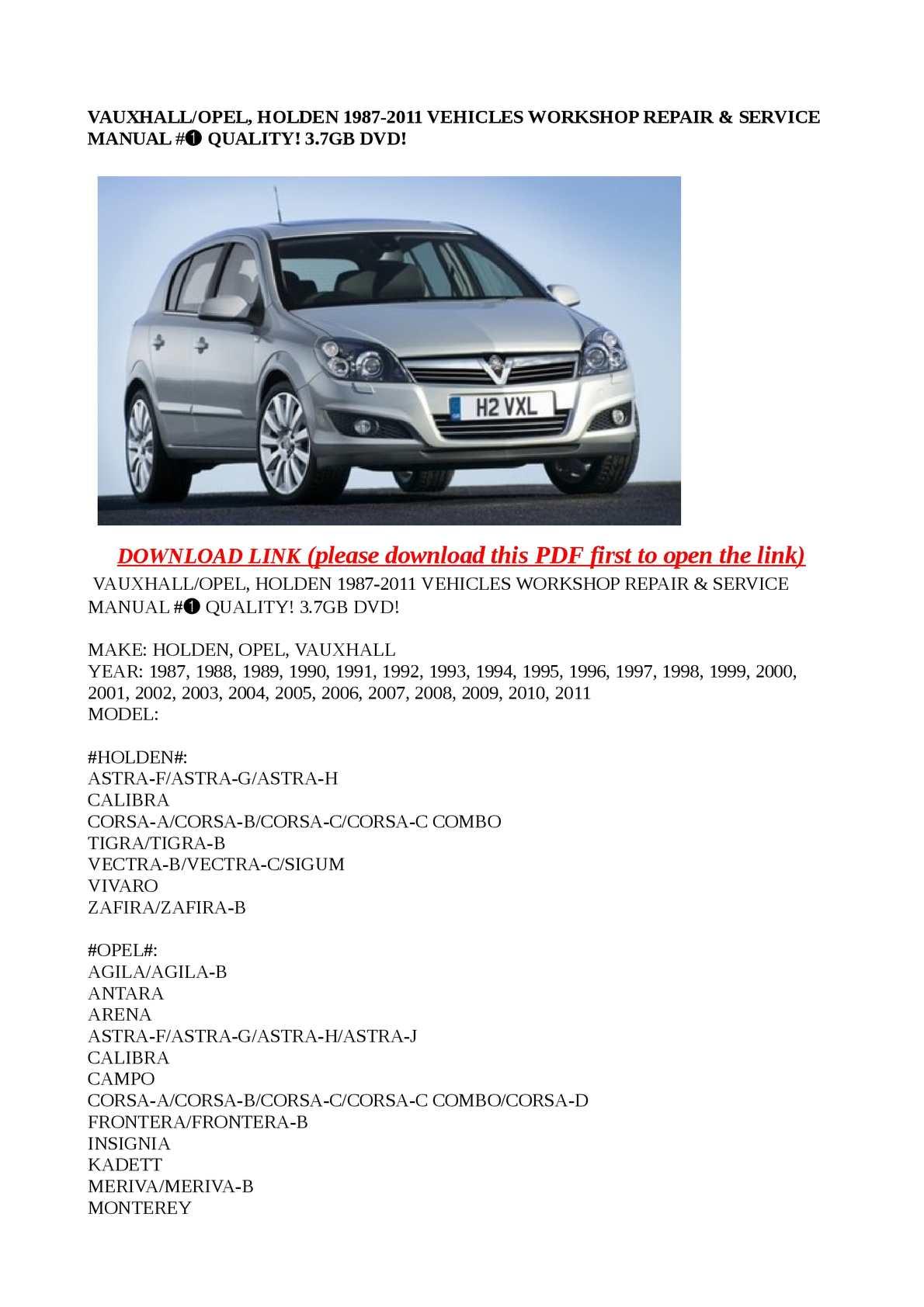 Vauxhall Vectra C Workshop Manual Free Good Owner Guide Website .