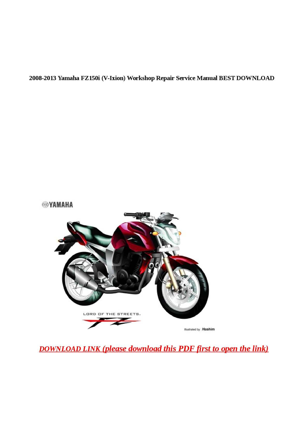 Fz150i Service Manual