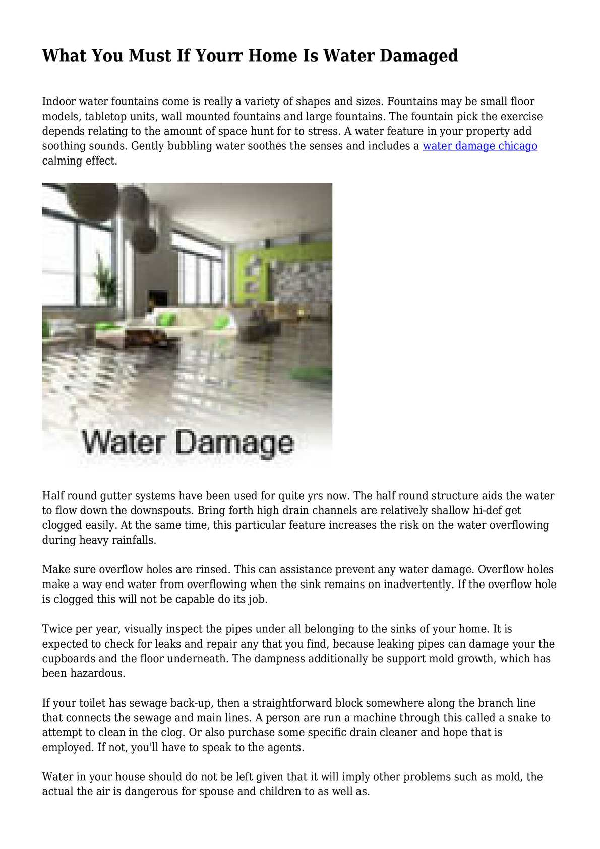if yourr home is water damaged