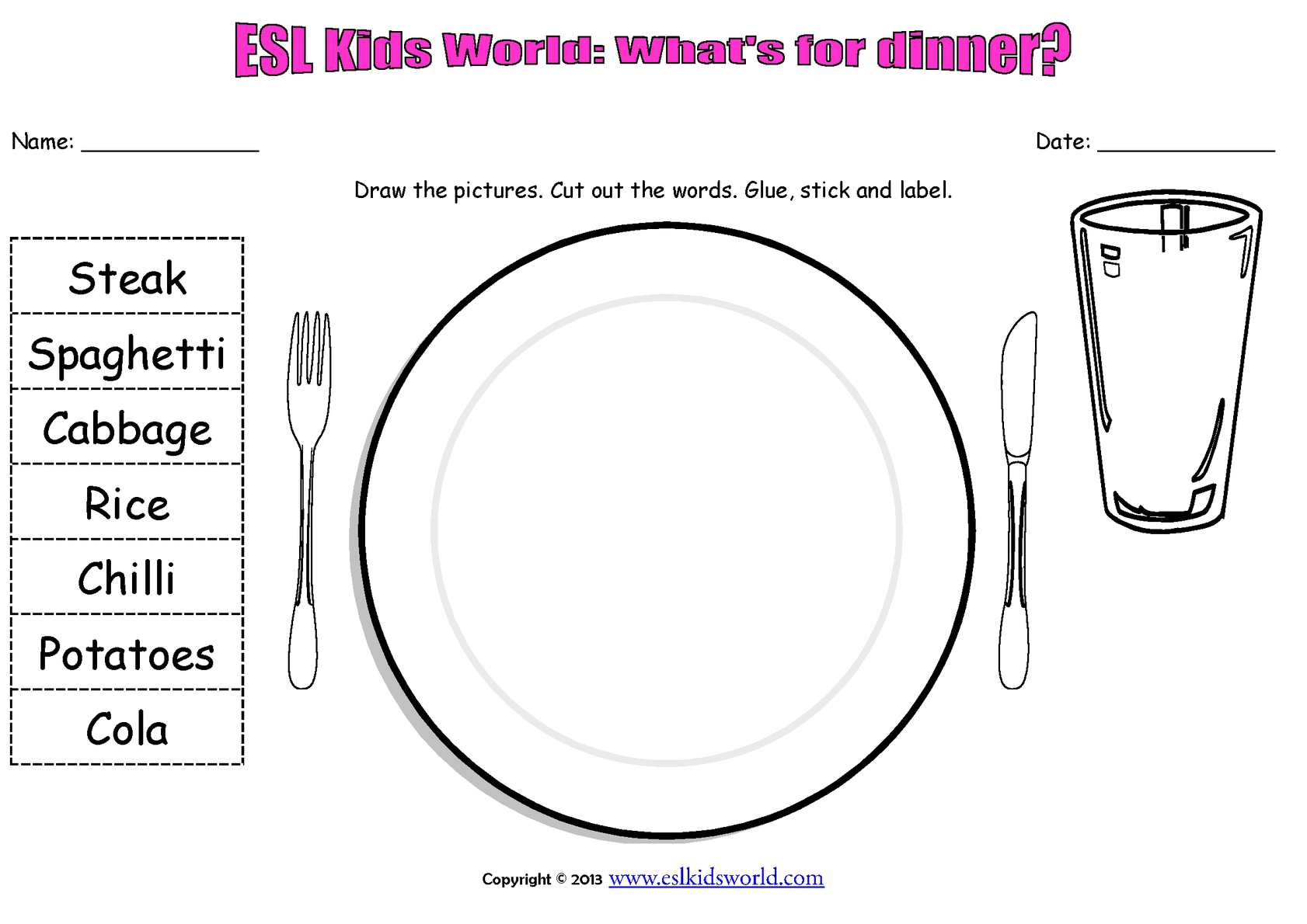 Worksheet On Plate Food