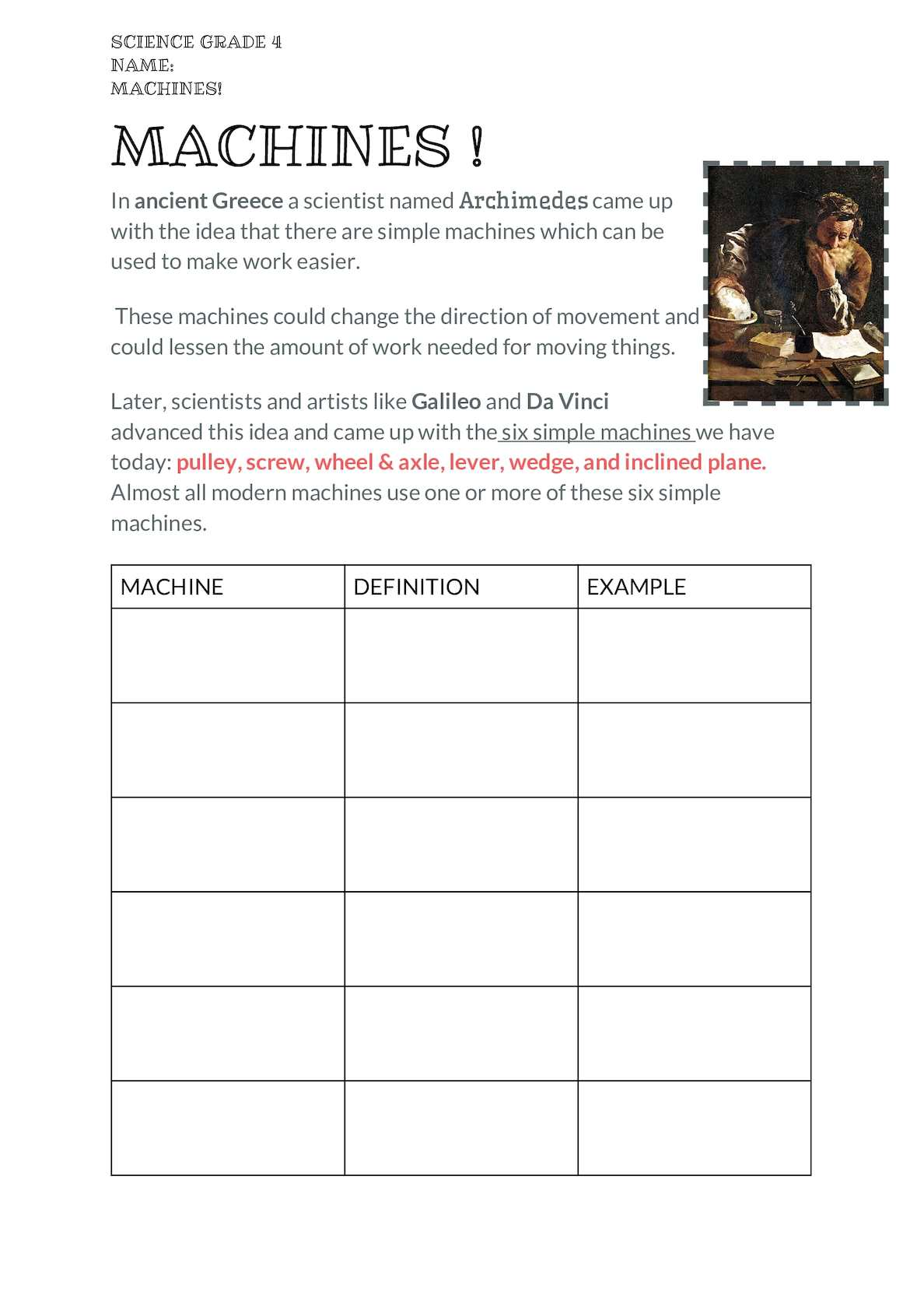 20 New For Simple Machines Wedge Worksheet