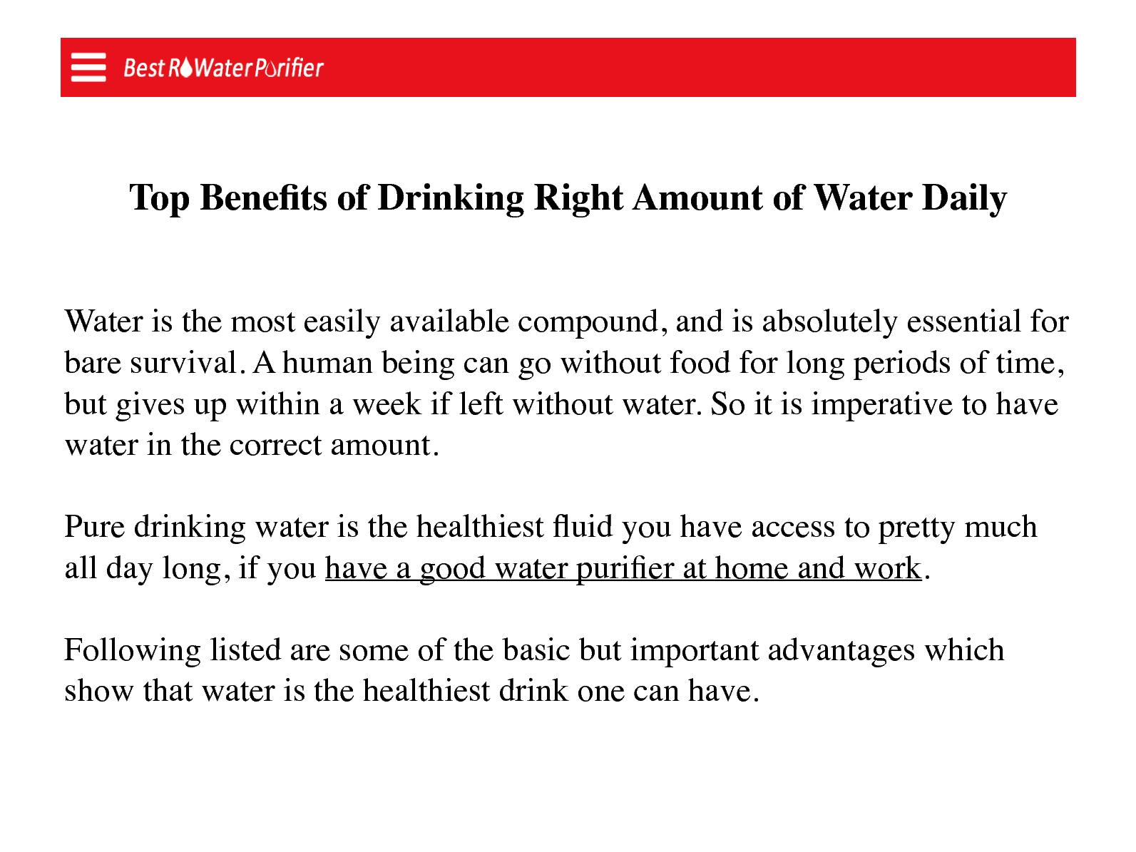 Benefits Of Drinking Right Amount Of Water Daily