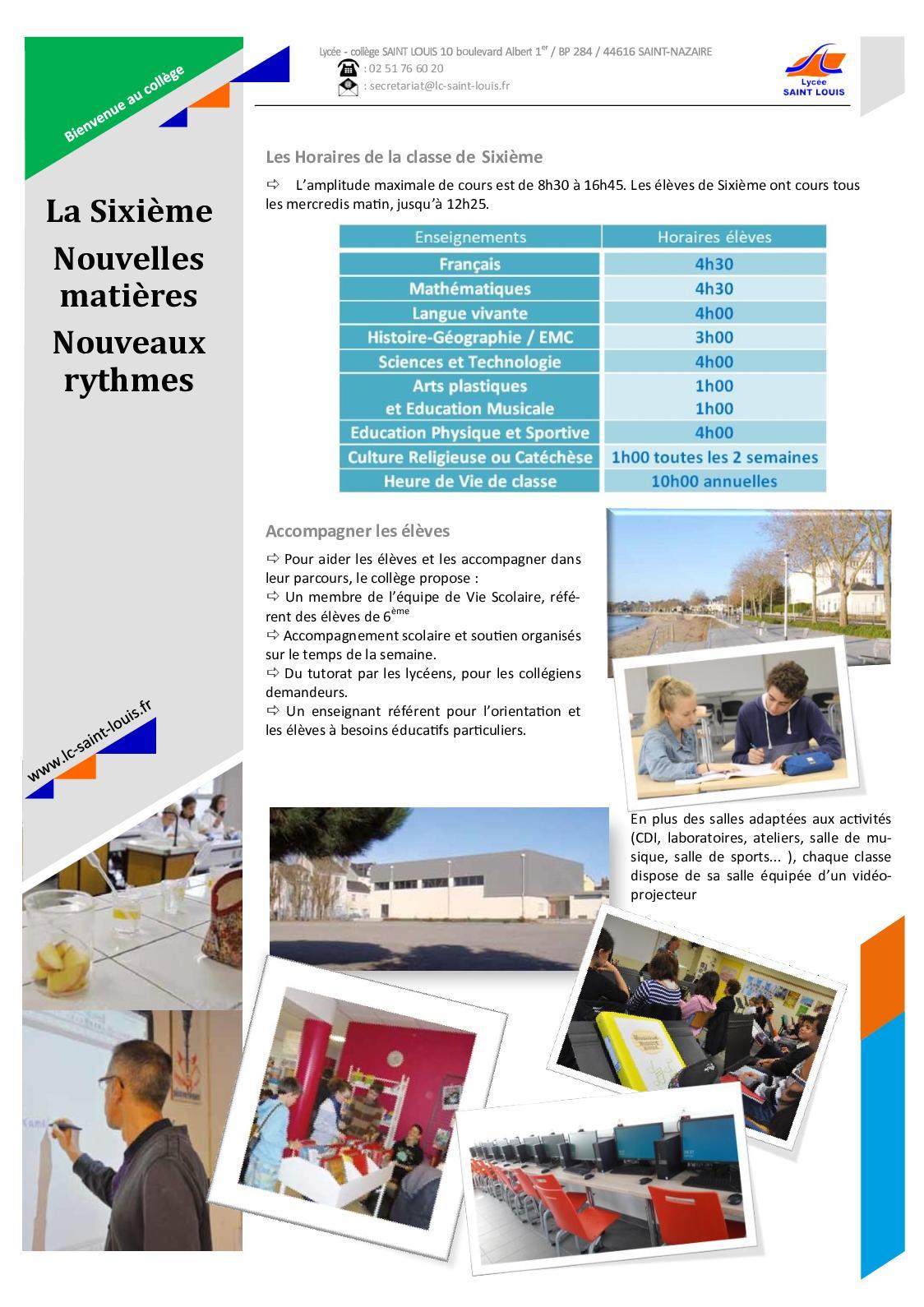 plaquette 2019 college saint louis