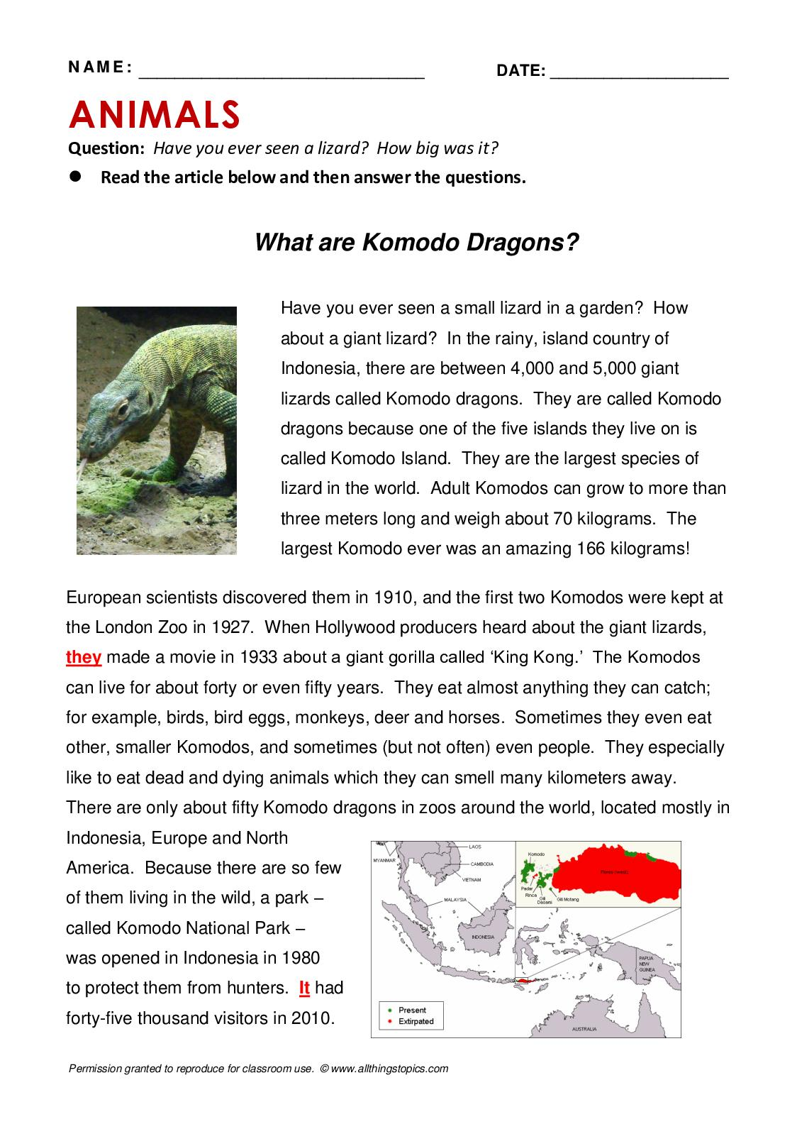 Komodo Dragon Reading Comprehension