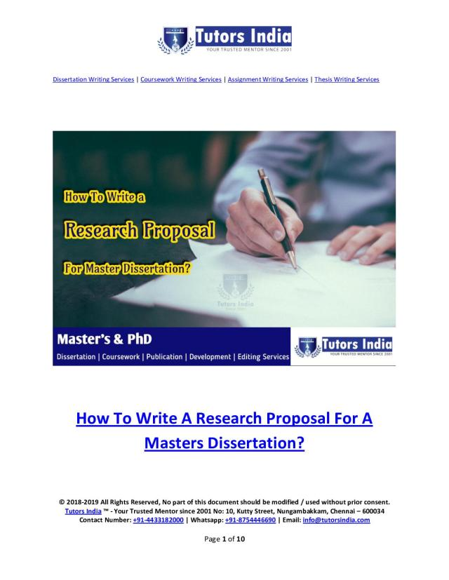 Calaméo - How To Write A Research Proposal For A Masters Dissertation