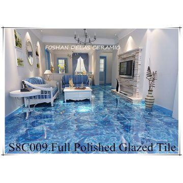 ocean blue glazed porcelain floor tile