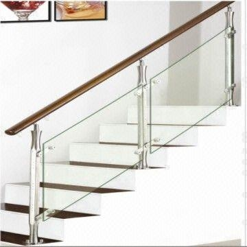Stainless Steel Staircase Wooden Stairway Glass Staircase Baluster | Stainless Steel Glass Staircase | Transparent | Handle | Powder Coated Steel | Open Tread | Black Stained