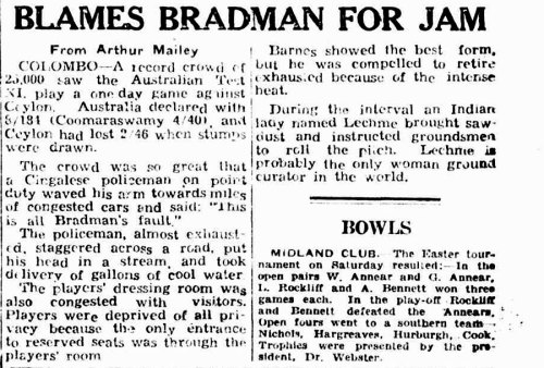 Arthur Mailey's report on Australia's 1948 match against Ceylon, who were captained by Sathasivam
