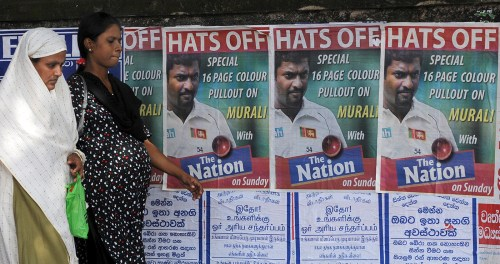 Come ye, come ye: posters advertise special supplements in the lead up to Murali's final Test, in 2010