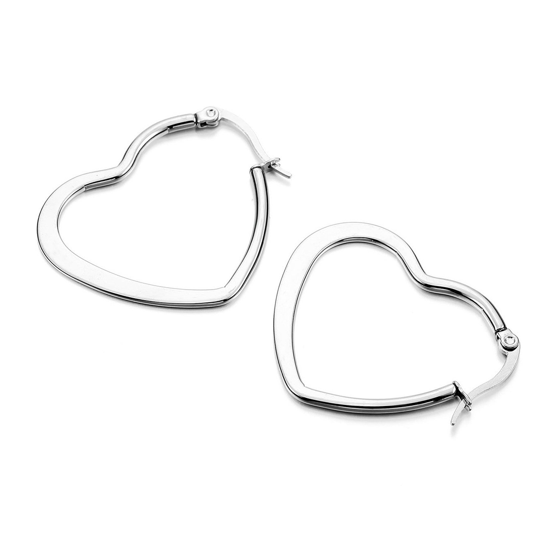 Stainless Steel Stud Plugs Hoop Earrings Ear Studs Silver