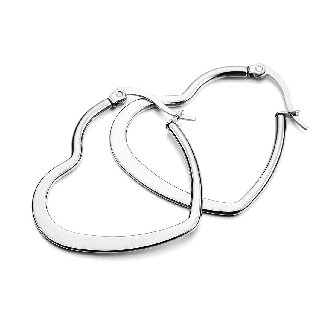 Stainless Steel Stud Plugs Hoop Earrings Ear Studs Silver