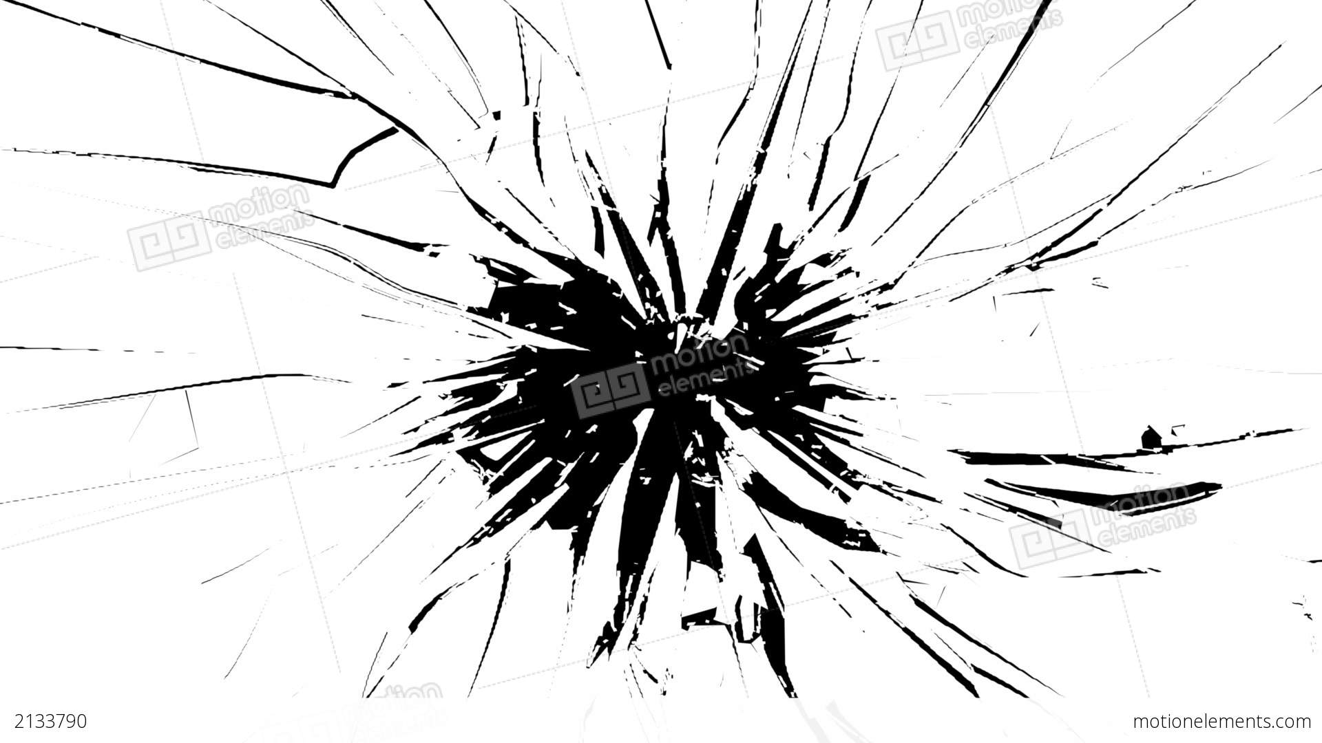 Cracked And Shattered Black Glass With Slow Motion Stock