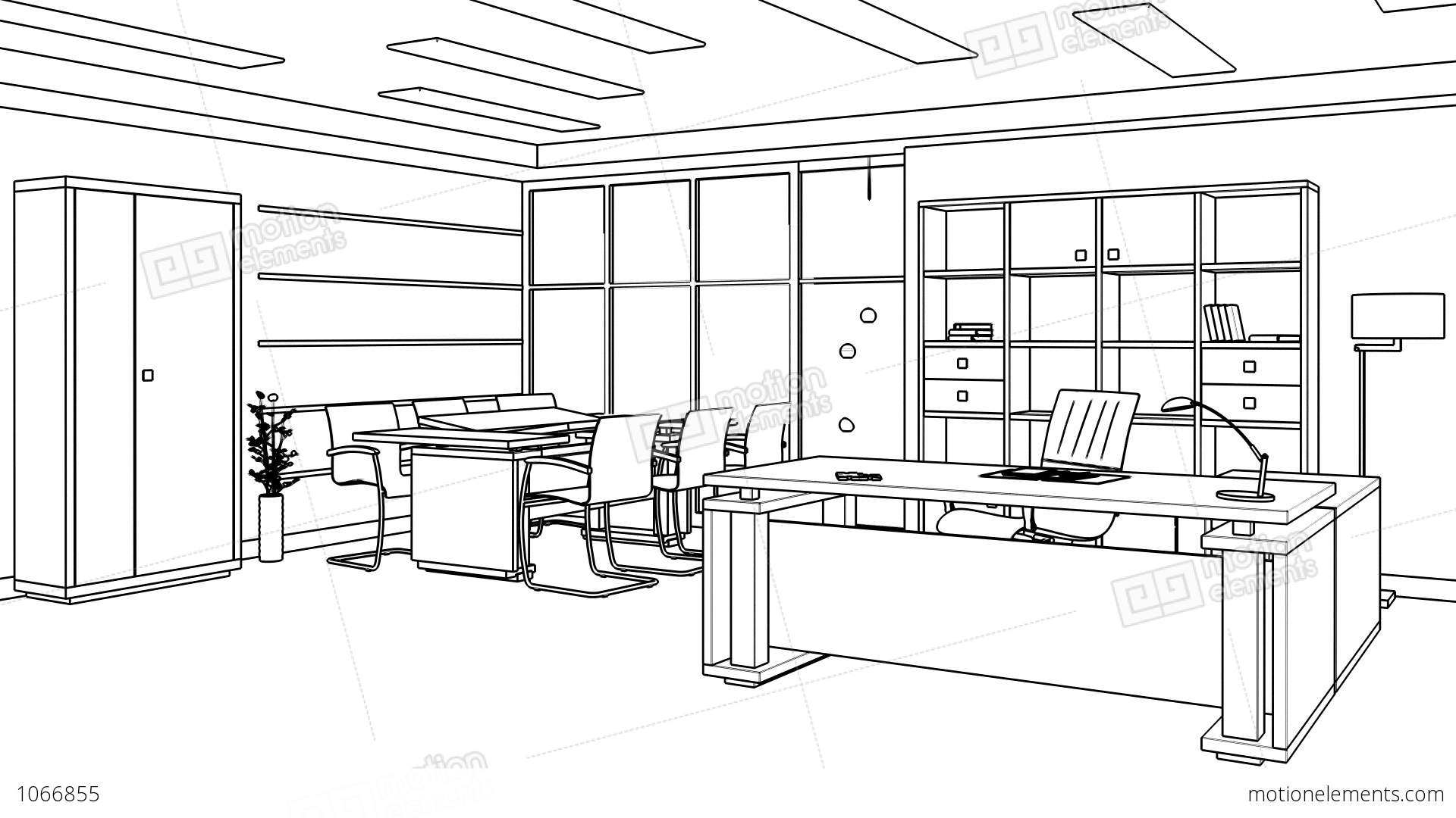 Office Interior Creation Wireframe Stock Animation