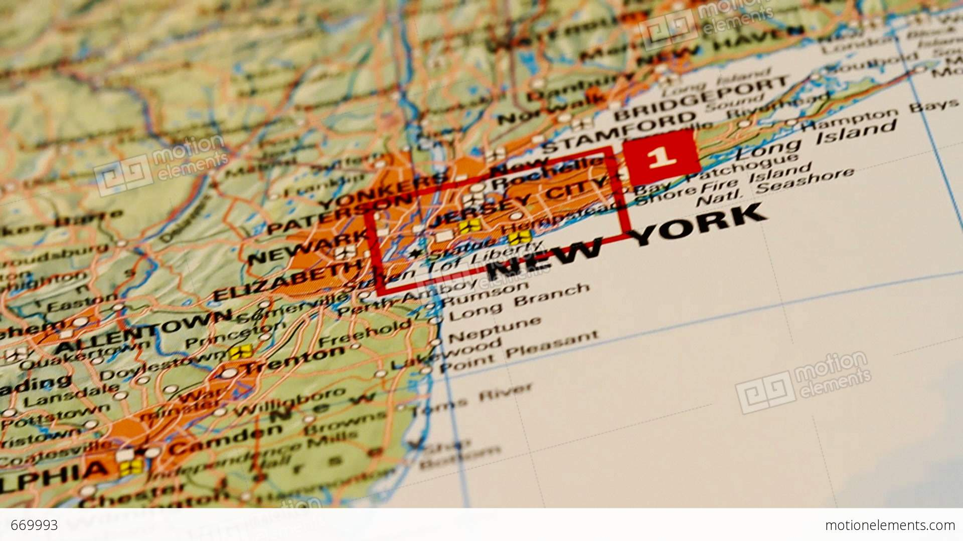 Usa East Coast And New York On Map Dolly Stock Video
