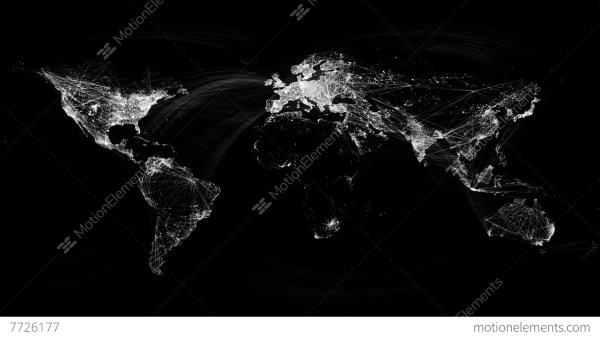 Network Lines Lighting Up World Map 4K. Black And White ...