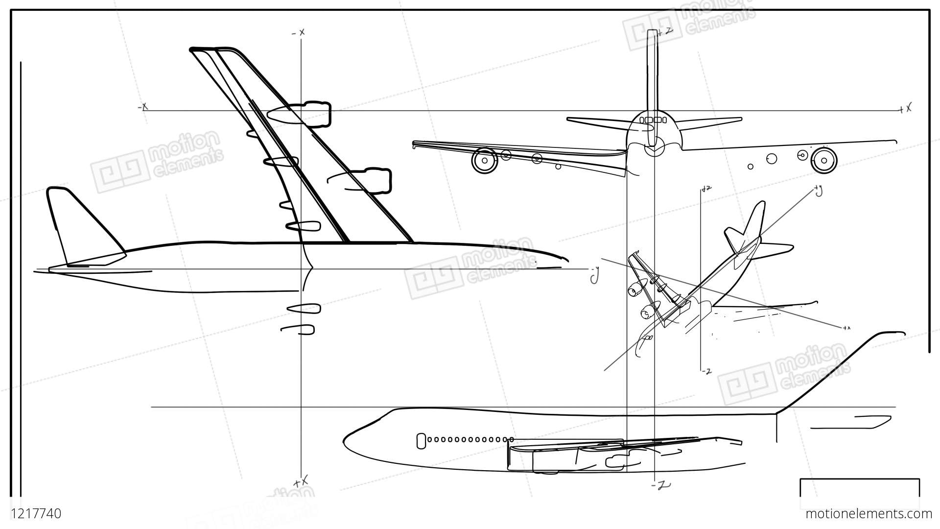 Aircraft Technical Drawing Time Lapse Stock Animation