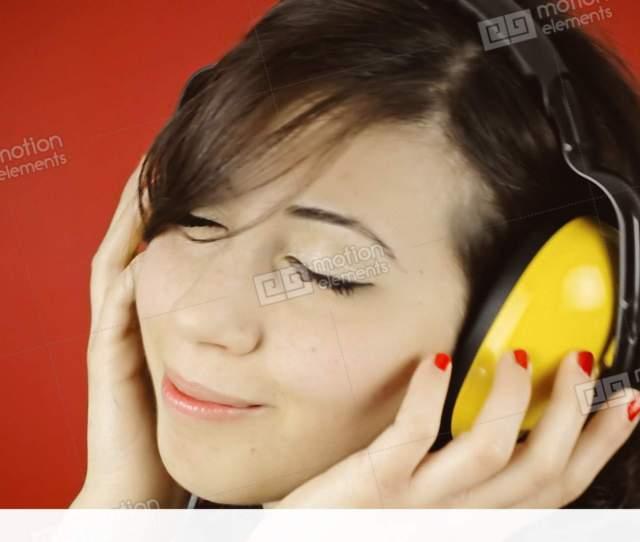 Music Woman Red Headphones Sensual Stock Video Footage