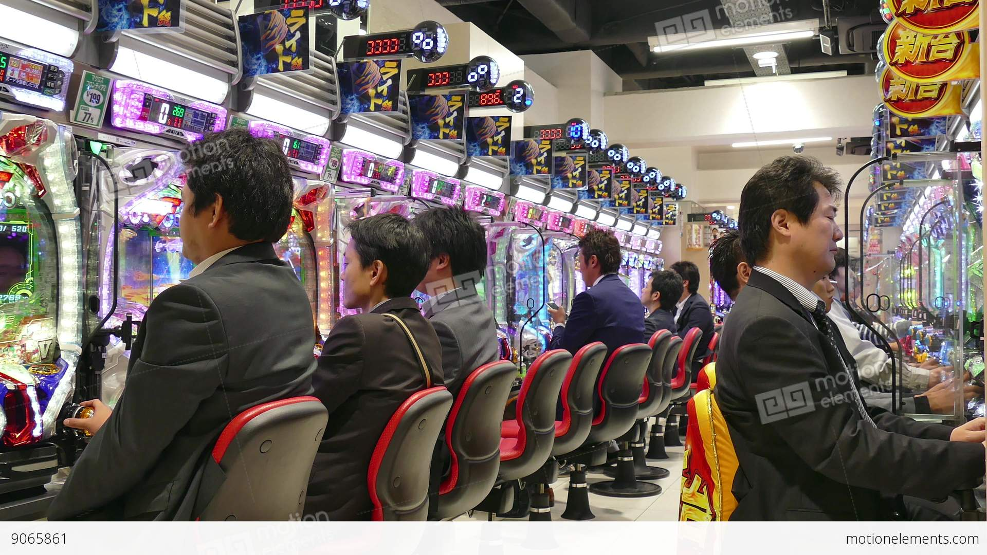 Japanese Men People Playing Pachinko Game Gambling Tokyo