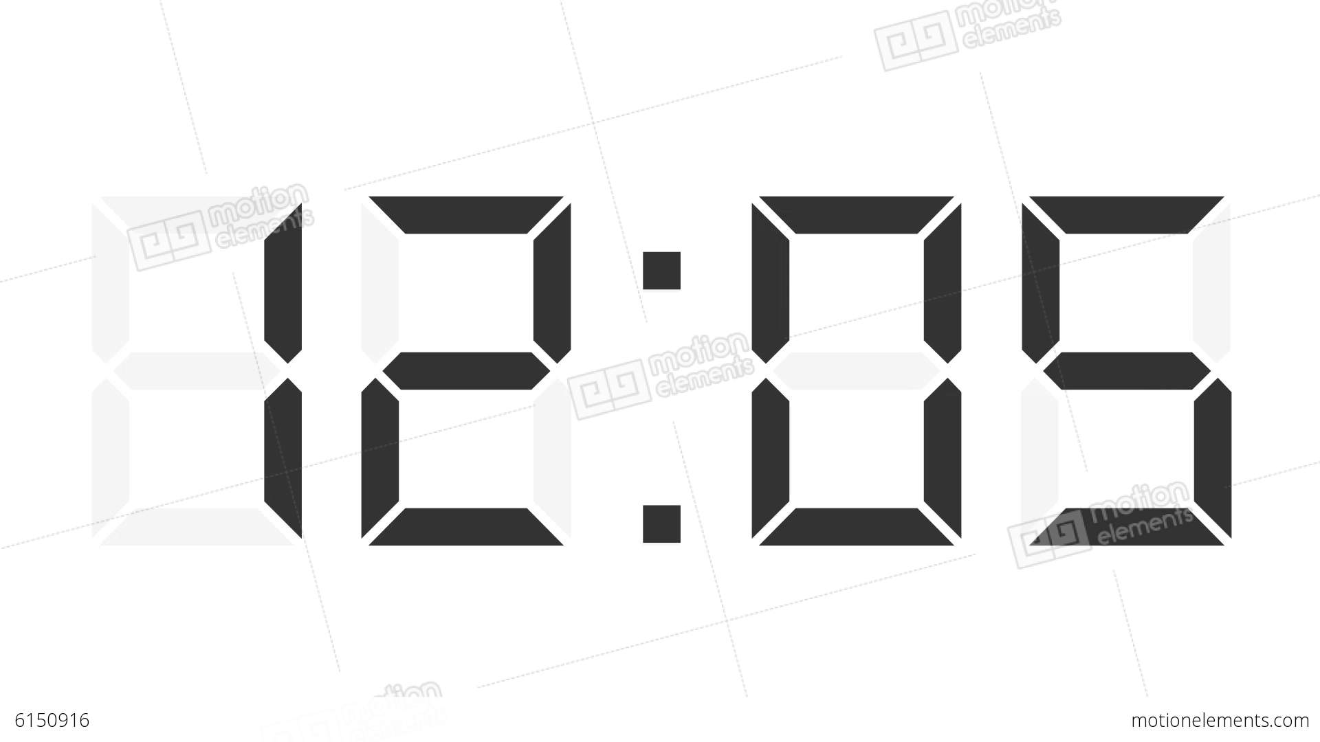 Digital Clock 12 24h Time Lapse Stock Animation