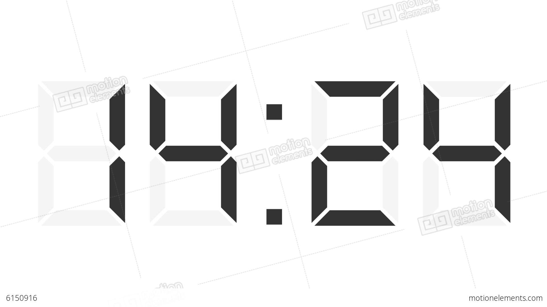 Digital Clock 12 24h Time Lapse Stock Animation