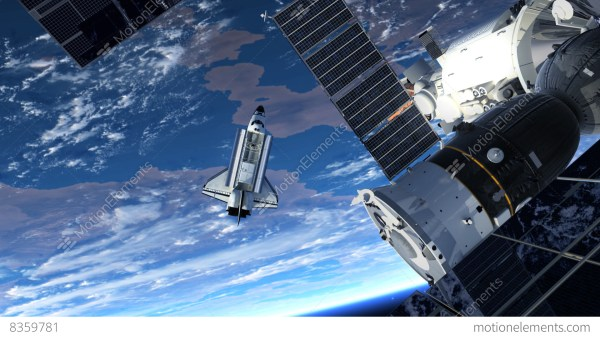 Space Station And Space Shuttle Orbiting Earth Stock