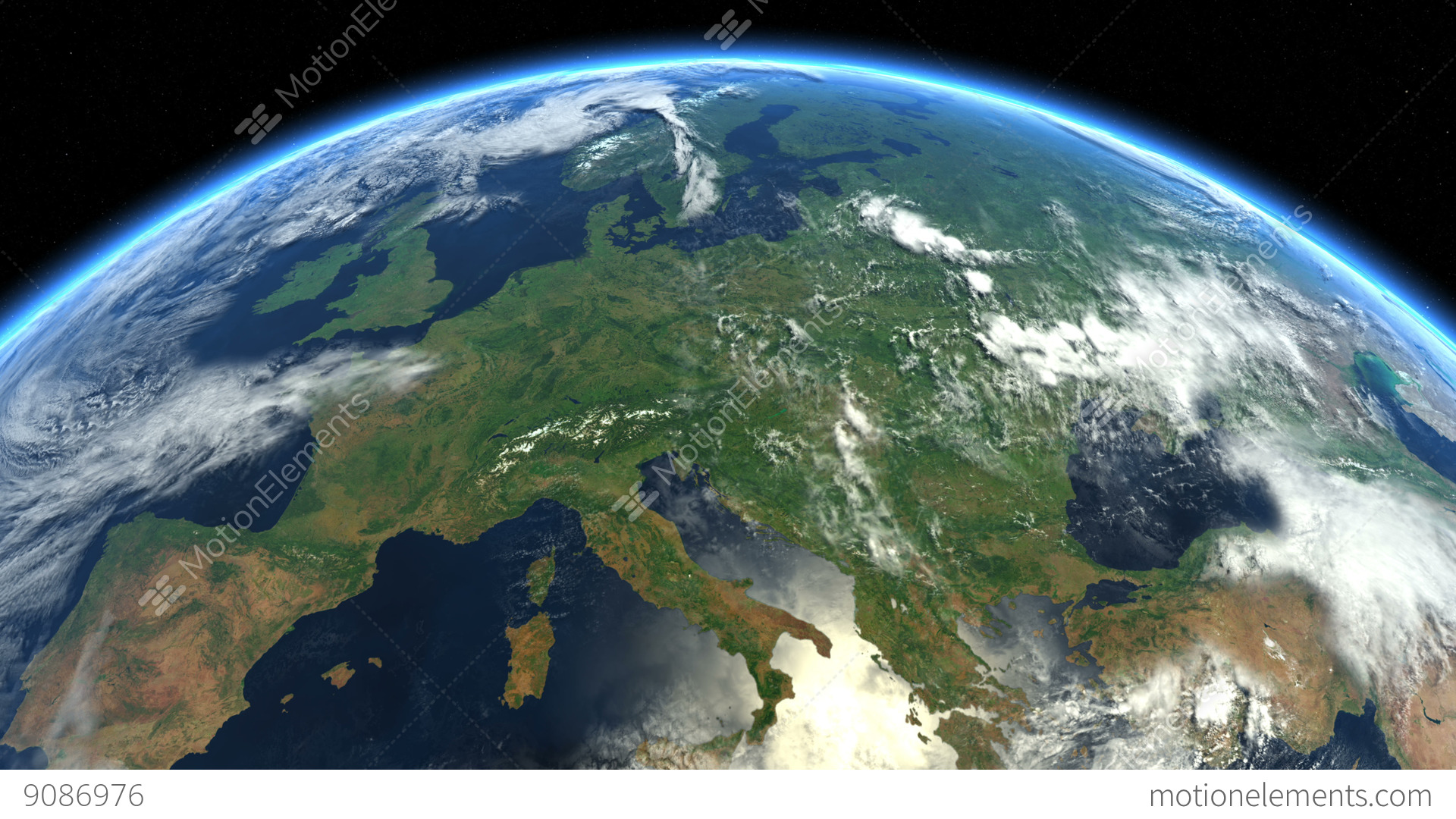 Europe From Space Earth From Space Stock Animation