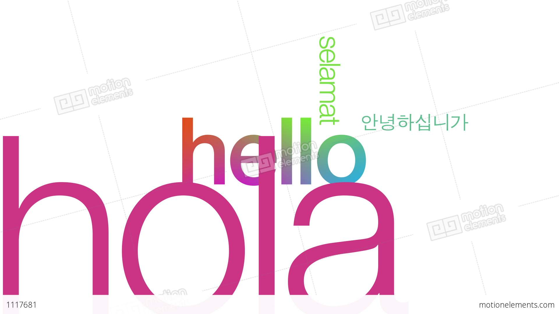 Hello In Different Languages Stock Animation