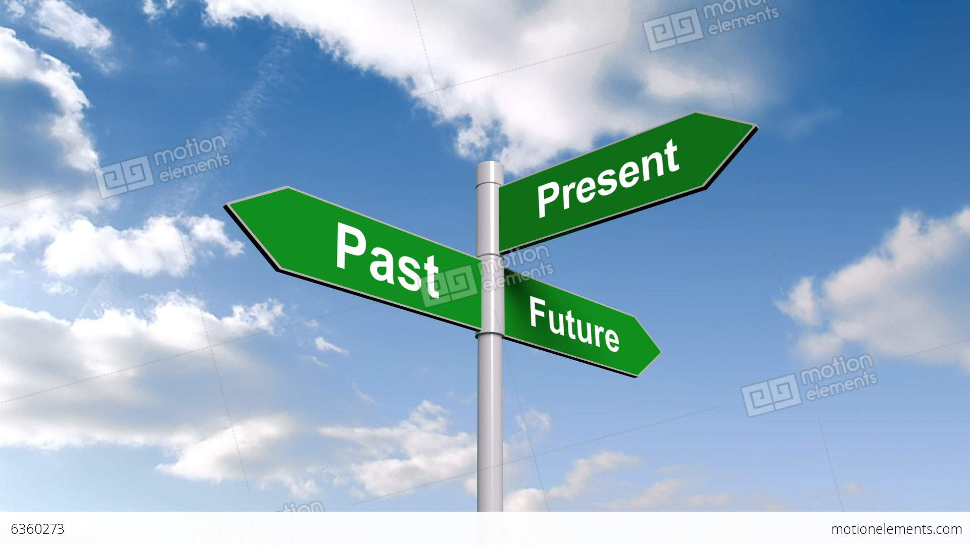 Past Present Future Signpost Against Blue Sky Stock