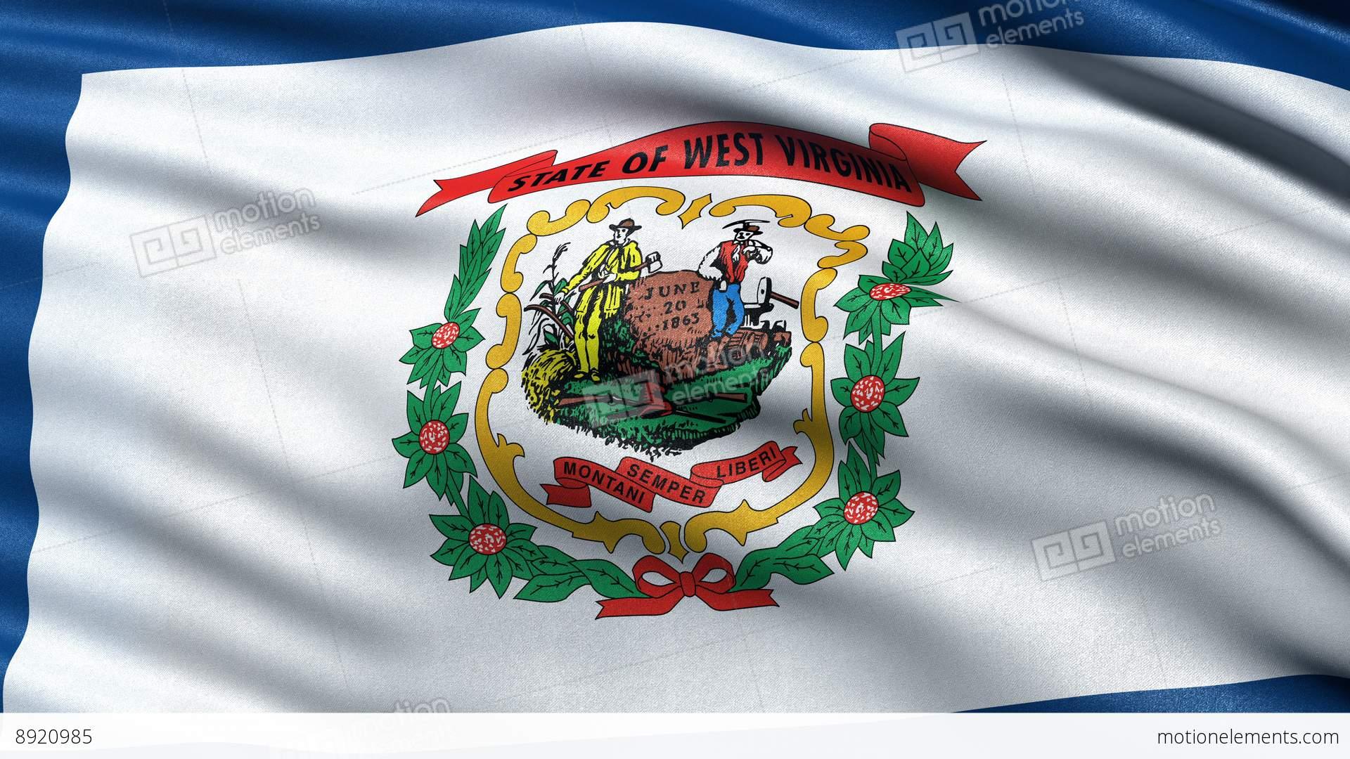 4k West Virginia State Flag Seamless Loop Ultra Hd Stock