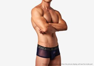 blue leader,translucent,mesh,waistband,boxers,underwear