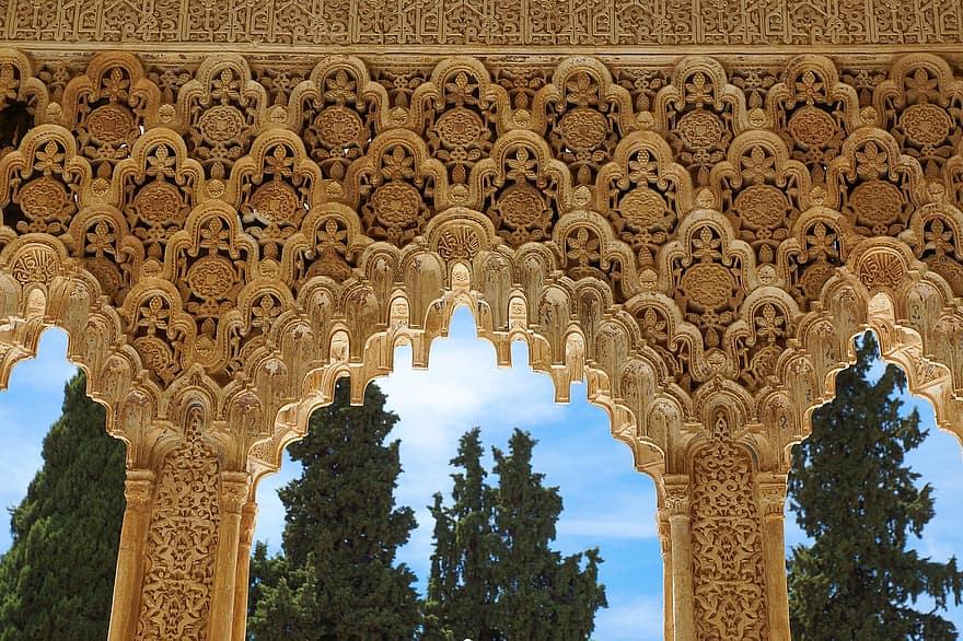 Spain Granada Alhambra Andalusia Architecture Palace Building Arabic Islam Tourism Landmark Pikist