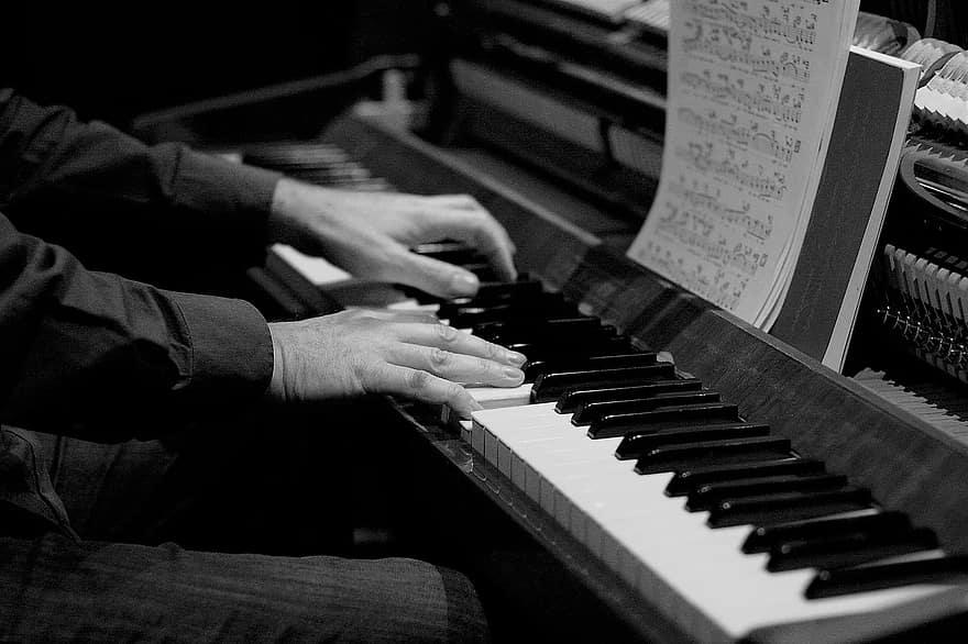 blanc joue du piano clavier