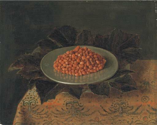 Fraises sur un plat d'aargent sur un tapis , hst, 38,9 x 48,5cmVt Christie's Paris ,28