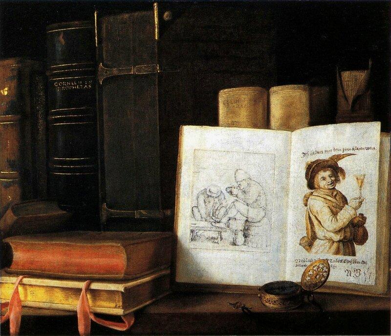 livres et montre, hst 45,1 x 52cm , galerie de Jonckere, Paris