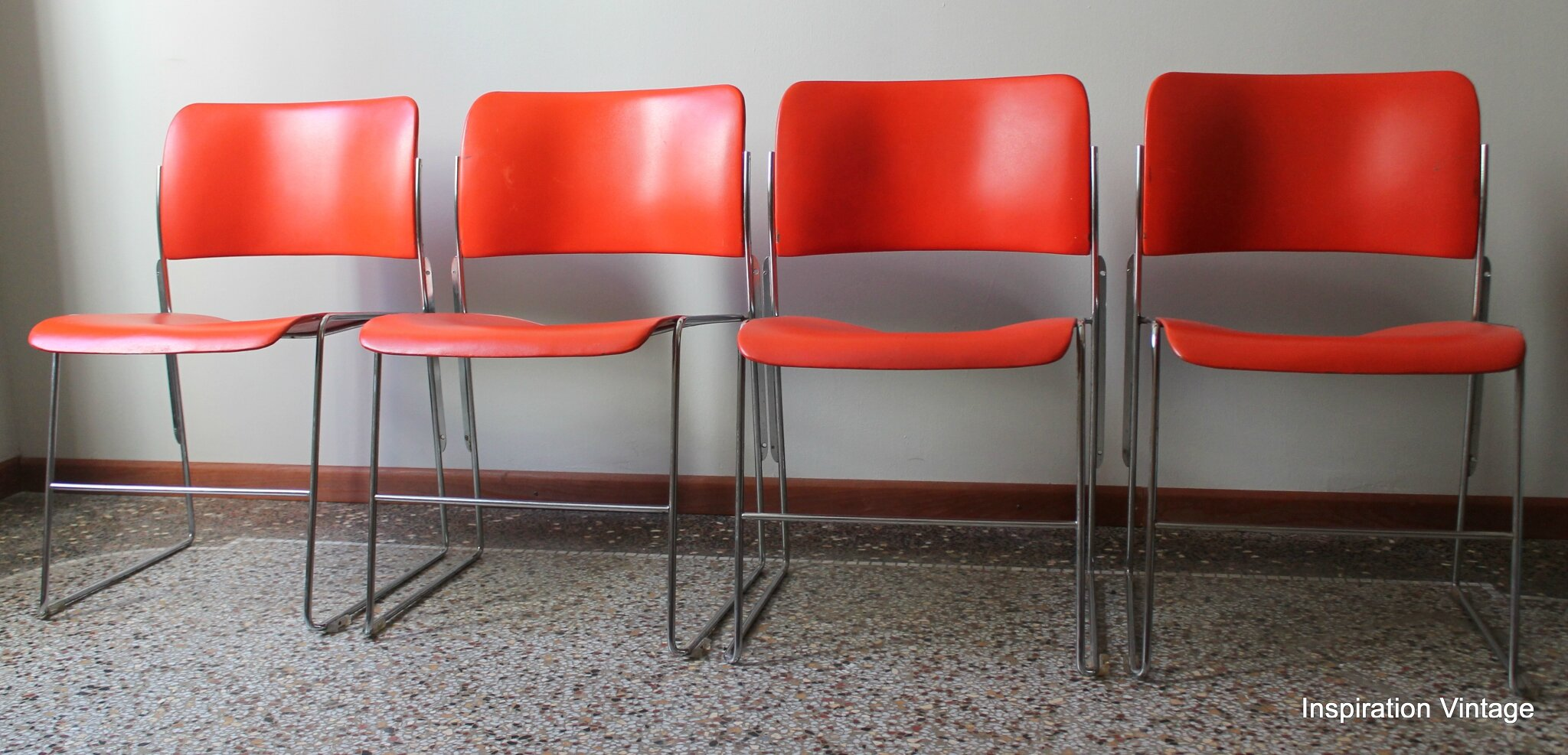 Chaises Mtalliques Orange David Rowland 70S