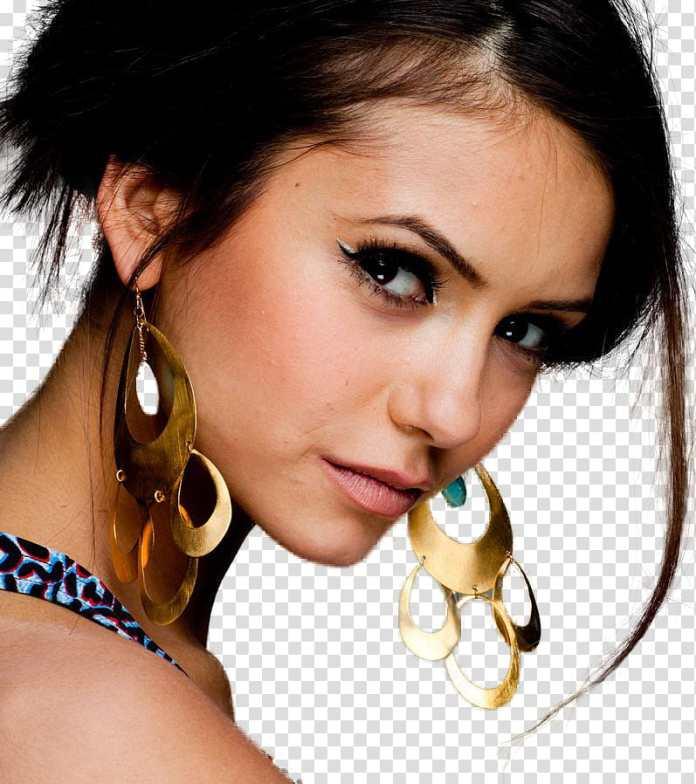 Nina Dobrev HQ, woman wearing gold-colored chandelier earrings ...