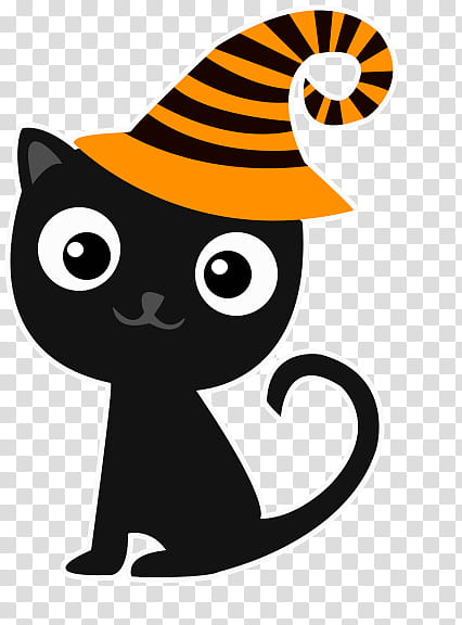 Halloween Cute S Black Cat Wearing Yellow Hat Art Transparent Background Png Clipart Hiclipart
