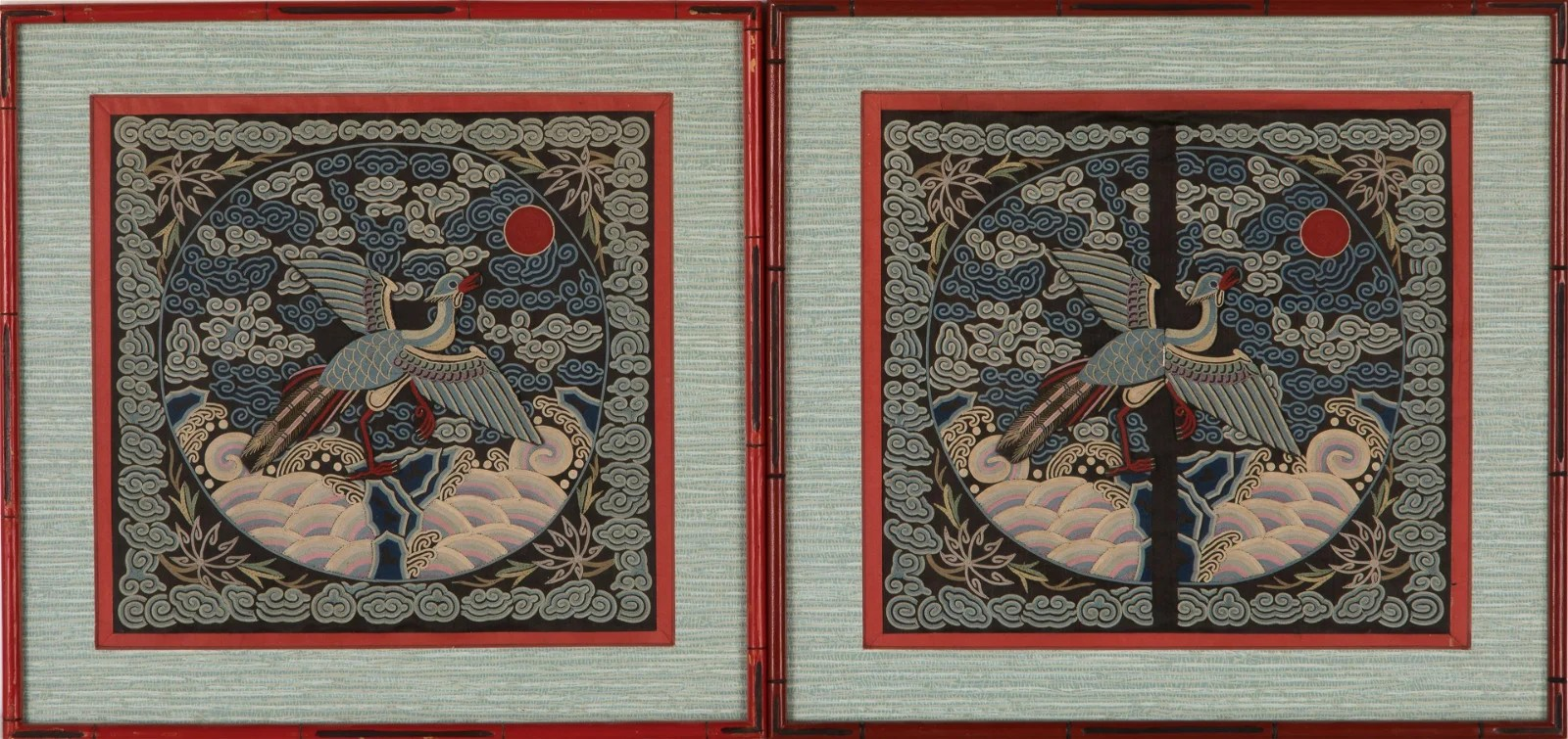 PAIR OF CHINESE EMBROIDERED BUZI RANK BADGES
