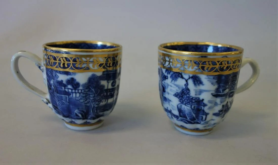 2 Chinese Export Porcelain Demitasse Cups, Qing