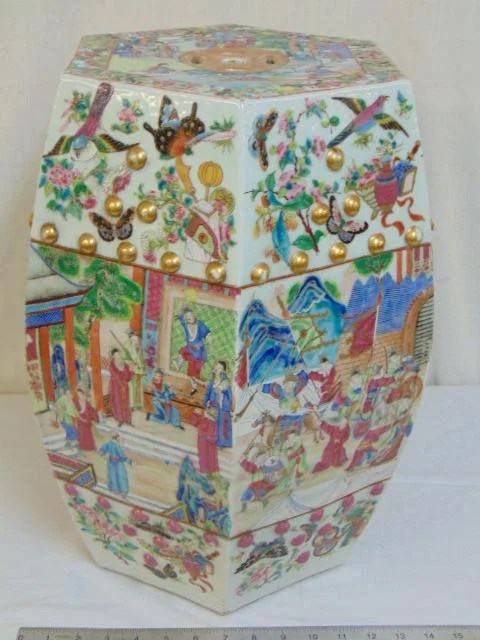 Chinese porcelain rose famille garden seat, 6 sided