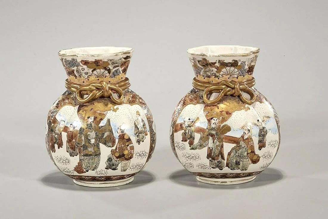 Pair Antique Japanese Satsuma Vases