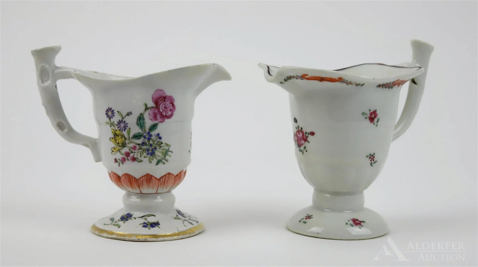 "Chinese Famille Rose ""Lotus\"" Helmet Pitcher Grouping"