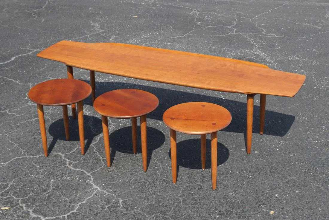 CONANT BALL SURFBOARD COFFEE TABLE AND 3 STOOLS