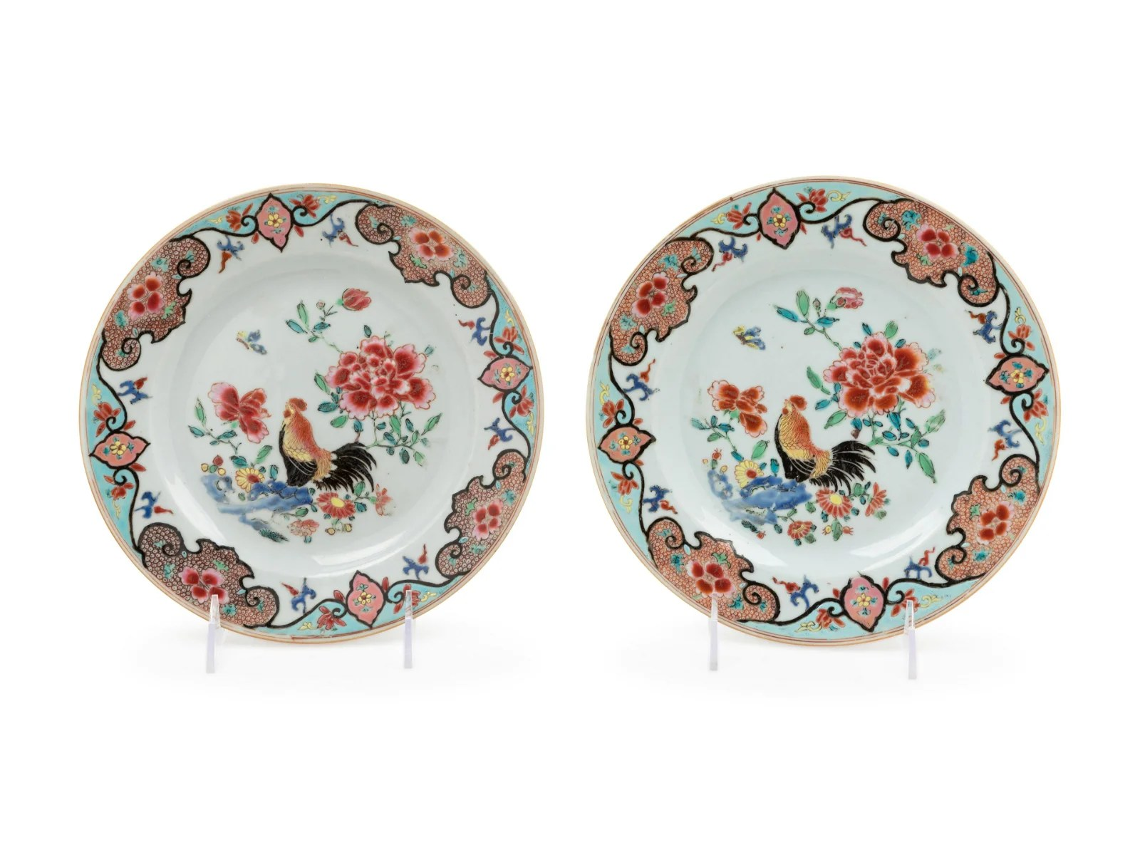 A Pair of Chinese Export Famille Rose Porcelain Plates