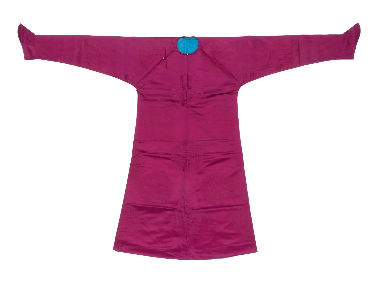A Magenta Silk Damask Robe Length 53 1/2 in., 136 cm.