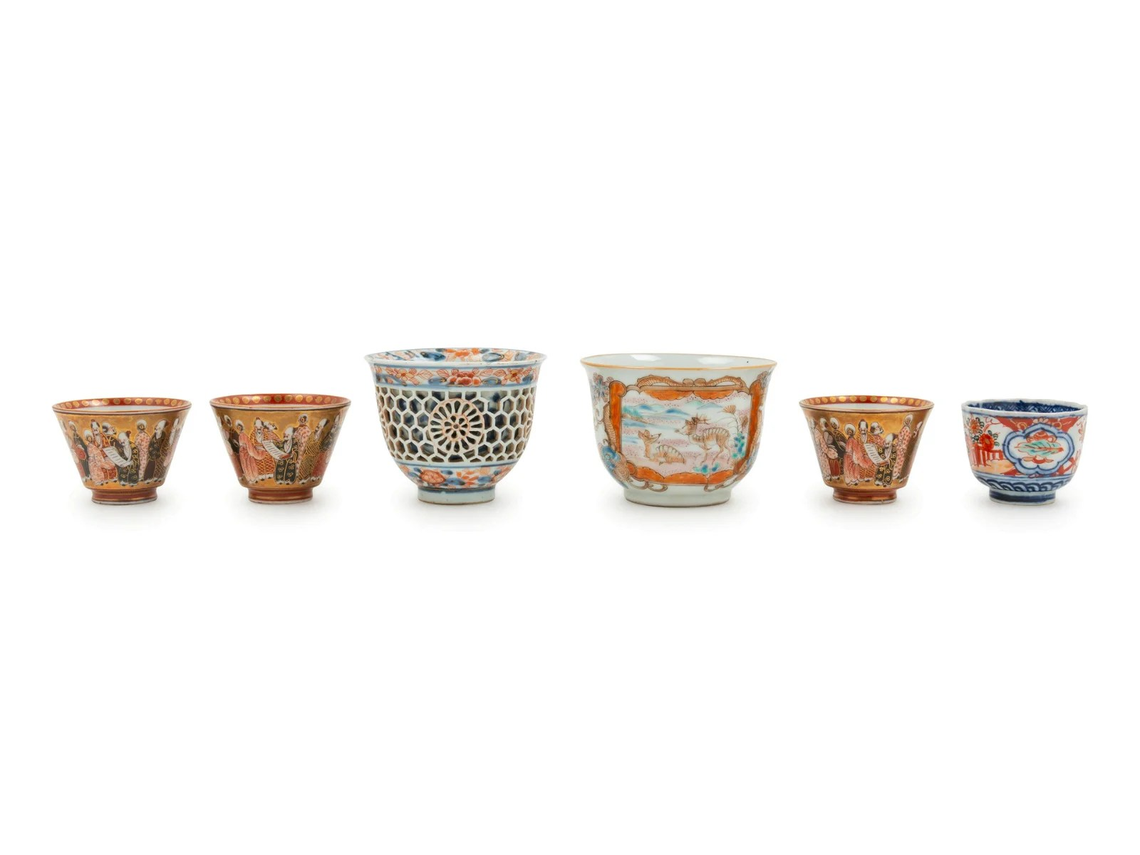 A Group of Six Japanese Porcelain Wine Cups Height of