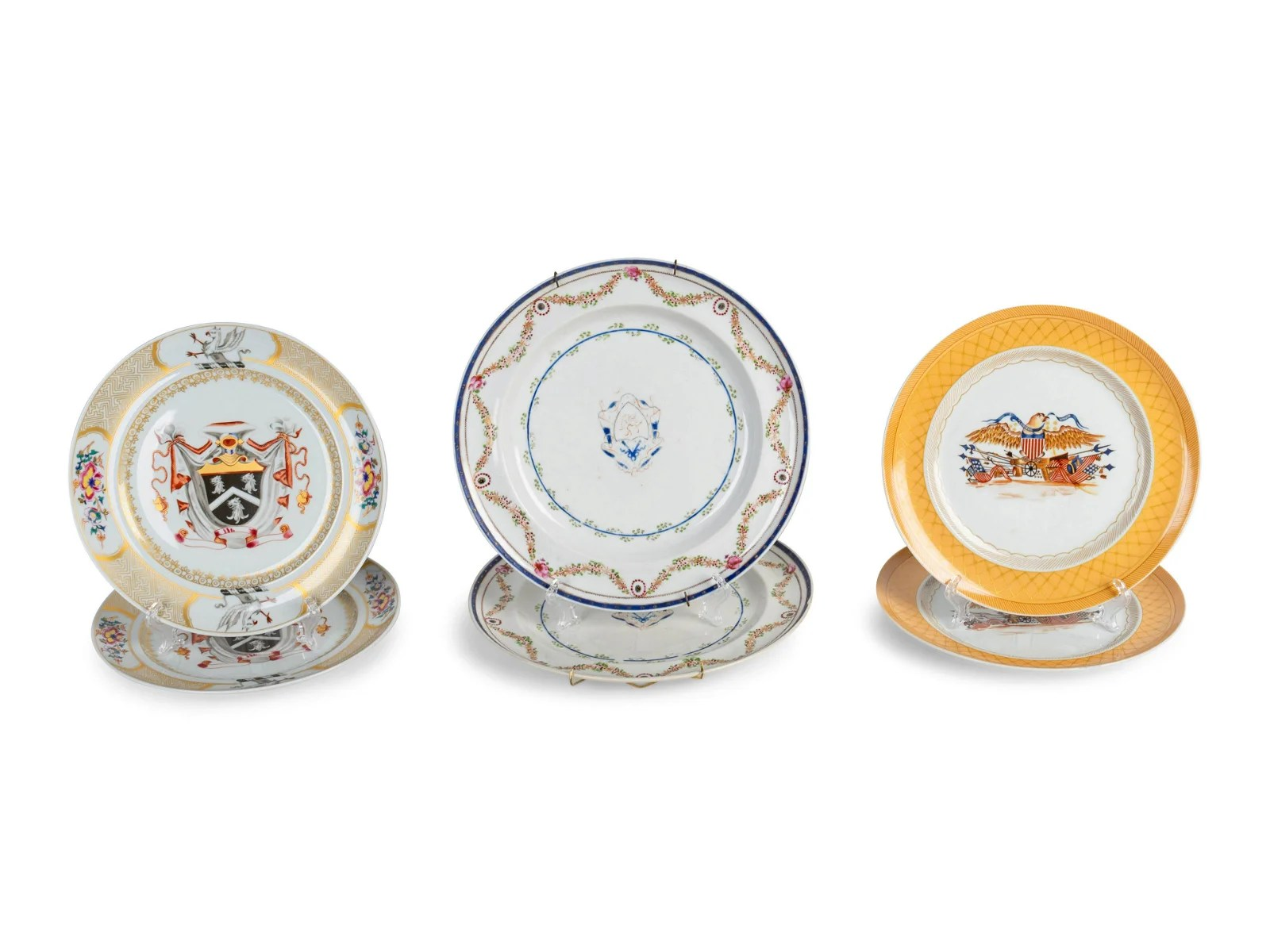 A Pair of Chinese Export Porcelain Armorial Dishes and