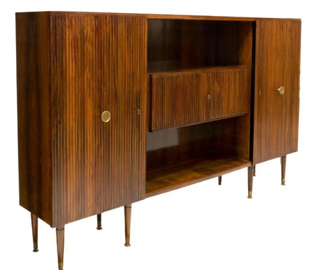 Italian Mid Century Modern Rosewood Bookcase